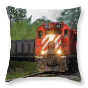 Red Ore Train On A Curve Near Bathurst Throw Pillow