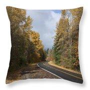 Oregon Autumn Highway Throw Pillow