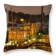 Oregon City Electricity Power Plant At Night Throw Pillow