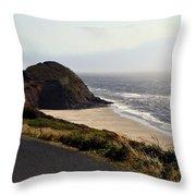 Oregon Coast And Fog Throw Pillow