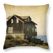 Oregon Coast Beach House Throw Pillow