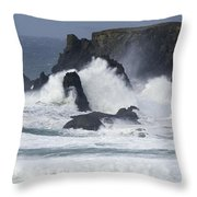 Oregon Coast Furrious Waves 1 Throw Pillow
