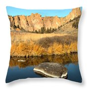 Oregon River Rock Reflections Throw Pillow