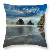 Oregon Sea Stack Surf Throw Pillow by Adam Jewell