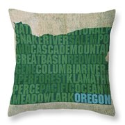 Oregon Word Art State Map On Canvas Throw Pillow