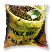 Organic Coffee Throw Pillow