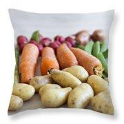 Organic Garden Vegetables Throw Pillow
