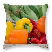 Organic Sweet Bell Peppers Throw Pillow