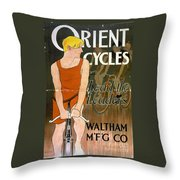 Orient Cycles Vintage Bicycle Poster Throw Pillow