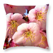 Oriental Flowers Throw Pillow