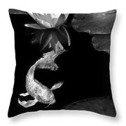Oriental Koi Fish And Water Lily Flower Black And White Throw Pillow