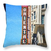 Oriental Theater With Sponge Painting Effect Throw Pillow