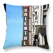 Oriental Theater With Watercolor Effect Throw Pillow
