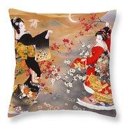 Oriental Triptych Throw Pillow