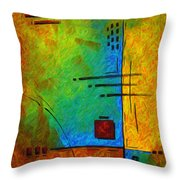 Original Abstract Painting Digital Conversion For Textured Effect Resonating IIi By Madart Throw Pillow