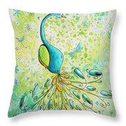 Original Acrylic Bird Floral Painting Peacock Glory By Megan Duncanson Throw Pillow