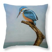 Original Animal Oil Painting Bird  Art Kingfisher On Canvas#16-2-6-15 Throw Pillow