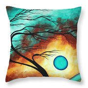 Original Bold Colorful Abstract Landscape Painting Family Joy I By Madart Throw Pillow