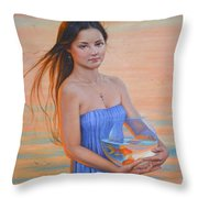 Original Classic Oil Painting Girl Art- Chinese Beautiful Girl And Goldfish Throw Pillow