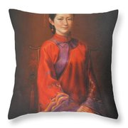 Original Classic Portrait Oil Painting Woman Art - Beautiful Chinese Bride Girl Throw Pillow