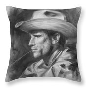 Original Drawing Sketch Charcoal Chalk  Gay Man Portrait Of Cowboy Art Pencil On Paper By Hongtao  Throw Pillow