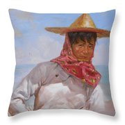 Original Oil Painting - Chinese Woman#16-2-5-26 Throw Pillow