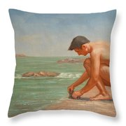 Original Oil Painting Man Body Art Male Nude By The Sea#16-2-5-42 Throw Pillow