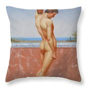 Original Oil Painting Man Body Art Male Nude On Canvas#16-2-5-13 Throw Pillow