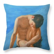 Original Oil Painting Man Body Art Male Nudeby The Pool -028 Throw Pillow