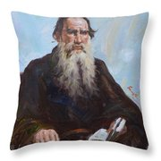 original oil painting - portrait of Leo Tolstoy #16-2-5-27 Throw Pillow