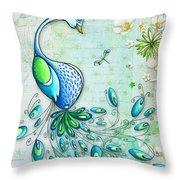 Original Peacock Painting Bird Art By Megan Duncanson Throw Pillow