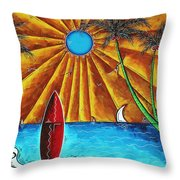 Original Tropical Surfing Whimsical Fun Painting Waiting For The Surf By Madart Throw Pillow