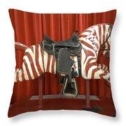 Original Zebra Carousel Ride Throw Pillow