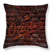 Orioles Baseball Graffiti On Brick  Throw Pillow