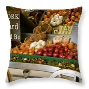 Work Hard And Be - Country Onion Cart Throw Pillow