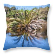 Ormond Scenic Loop Florida Palm Tree Painted  Throw Pillow