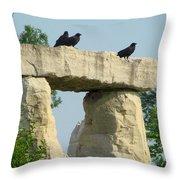 Ornamental Crows Throw Pillow
