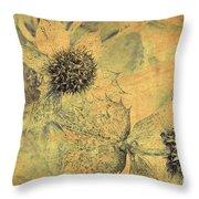 Ornamental Thistle Flower Throw Pillow