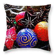 Ornaments 7 Throw Pillow by Sarah Loft