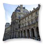 Ornate Architectural Artwork On The Buildings Of The Musee Du Louvre In Paris France Throw Pillow