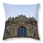 Ornate Architectural Artwork On The Musee Du Louvre Buildings In Paris France  Throw Pillow