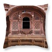 Ornate Balcony At Meherangarh Fort At Jodhpur In India Throw Pillow