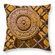 Ornate Door Knob Throw Pillow by Carolyn Marshall