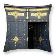 Ornate Door On Champs Elysees In Paris France Throw Pillow