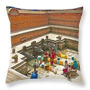 Ornate Fountains With Holy Water From The Bagmati River In Patan Durbar Square In Lalitpur-nepal   Throw Pillow