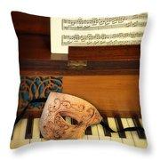 Ornate Mask On Piano Keys Throw Pillow