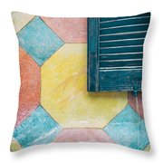 Ornate Wall With Shutter Throw Pillow