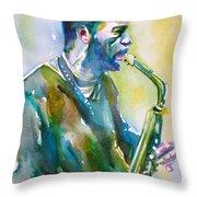 Ornette Coleman - Watercolor Portrait Throw Pillow