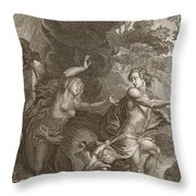 Orpheus, Leading Eurydice Out Of Hell Throw Pillow