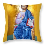 Orthodox Icon Of Jesus In Blue Throw Pillow